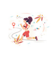 flat sport woman with sportswear running to point vector image