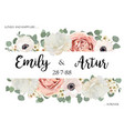 floral cute wedding invitation save the date card vector image vector image