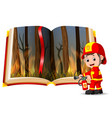 forest on fire in the book and firefighter vector image vector image