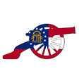 georgia flag with civil war cannon silhouette vector image vector image