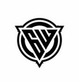 gw logo with triangle shape and circle vector image vector image