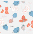 hand drawn pattern with strawberries and leaves vector image vector image