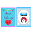 happy birthday card collection vector image