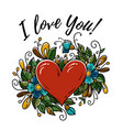 happy valentines day card i love you red heart vector image vector image