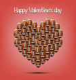 happy valentines day heart from football balls vector image