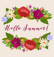 hello summer background with cartoon flowers vector image vector image