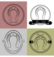 Horseshoe logos in different styles With the vector image vector image