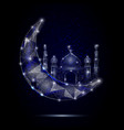 islamic mosque moon geometric polygonal vector image vector image