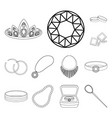 jewelry and accessories outline icons in set vector image