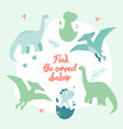 learning game with dinosaurs - flat design style vector image