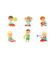 little kids playing musical instruments vector image vector image
