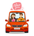 loving couple riding on car love concept cartoon vector image vector image