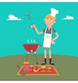 Man Doing Barbecue on Picnic Summer Grill Party vector image vector image