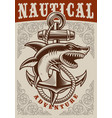nautical vintage poster with anchor and shark vector image vector image