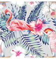 orchid hibiscus flamingo parrot pattern light vector image vector image