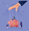 piggy bank being controlled puppeteer vector image vector image