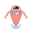 pink robot artificial intelligence flying vector image