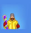 pop art skier man sketch vector image vector image