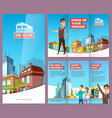 real estate brochure printing banners with happy vector image