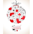 Retro Christmas background with the xmas ball vector image