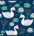 seamless pattern with white princess swan on lake vector image