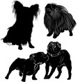 set dog silhouettes isolated on white background vector image