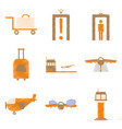set of flat icons in shading style airport vector image vector image