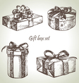 Set of gift boxes hand drawn vector image vector image