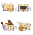 set of open book character with envelope virtual vector image vector image