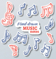 set of paper music stickers vector image