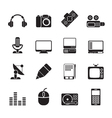 Silhouette Media equipment icons vector image vector image