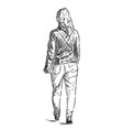 sketch a townswoman walking down street vector image vector image