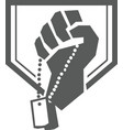 soldier hand clutching dogtag crest retro vector image