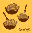 Spaghetti or noodle retro icons vector image