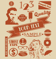 various retro signs and symbols vector image