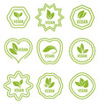 vegan icon set badges emblems and stamps vector image vector image