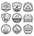 vintage monochrome bookstore labels set vector image vector image