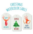 watercolor christmas labels with deers and pine vector image