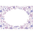 watercolor purple flower and plant border white vector image vector image