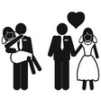 wedding couple icons vector image vector image