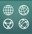 white linear globe icons set for web apps ui vector image vector image