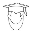 woman student graduated head avatar character vector image vector image