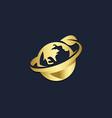 world globe eco leaf gold logo vector image vector image