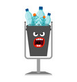 garbage can with plastic trash vector image