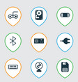 set of 9 computer hardware icons includes vector image