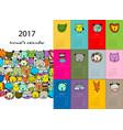 funny animals calendar 2017 design vector image