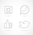 Outline icons of camera handset like and bird vector image