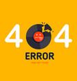 404 error page not found vinyl music broken vector image vector image