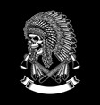 american indian chief skull with tomahawks vector image