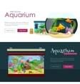 Aquarium fish seaweed underwater banner template vector image